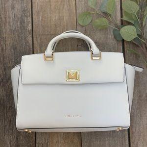 Michael Kors white leather Silvia shoulder bag.